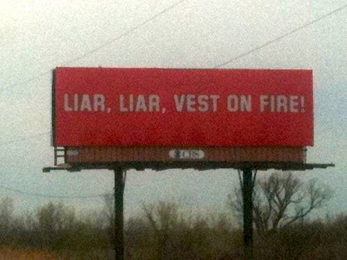 Liar vest billboard
