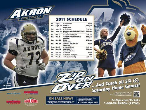 Akron Zips poster schedule 2011
