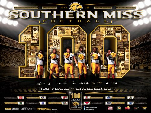 Southern Miss Golden Eagles 2012 poster schedule