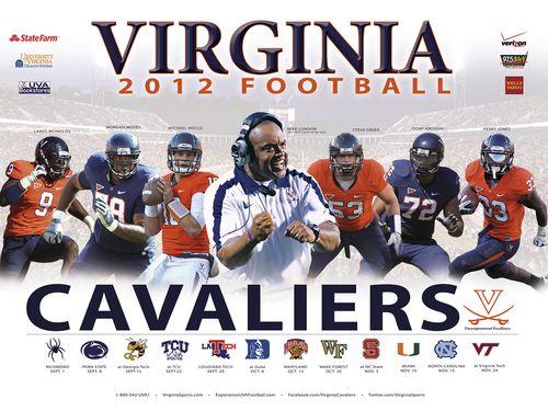 Virginia Cavaliers 2012 poster schedule