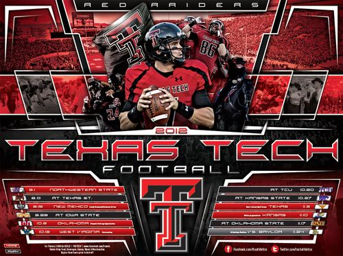Texas Tech Red Raiders 2012 poster schedule