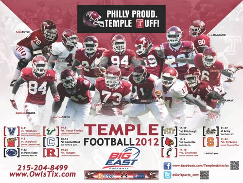 Temple Owls 2012 poster schedule