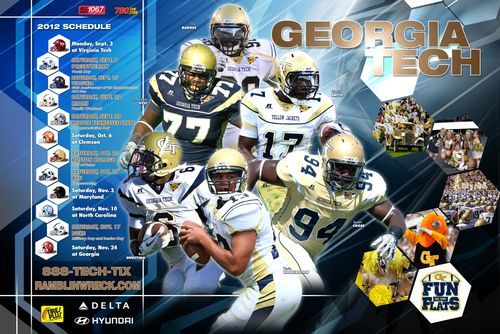 Georgia Tech Yellow Jackets 2012 poster schedule