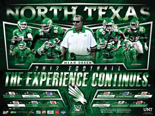 North Texas Mean Green 2012 poster schedule