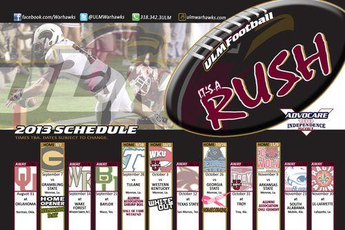 Louisiana Monroe Warhawks 2013 poster schedule