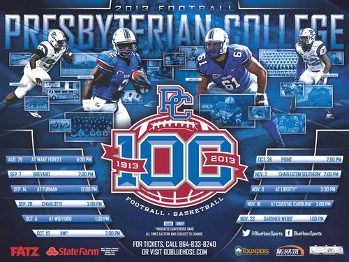 Presbyterian College 2013 poster schedule