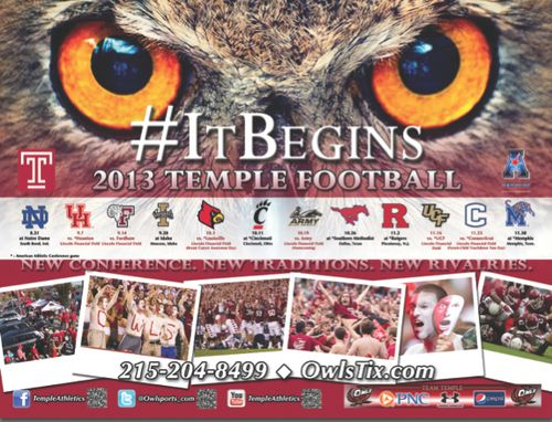 Temple Owls 2013 poster schedule