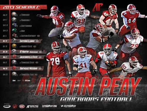 Austin Peay Governors 2013 poster schedule