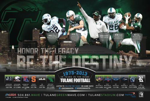 Tulane Green Wave 2013 poster schedule