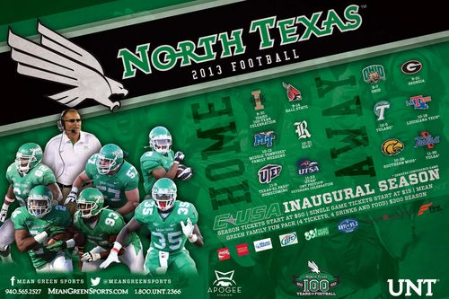 North Texas State Mean Green 2013 poster schedule