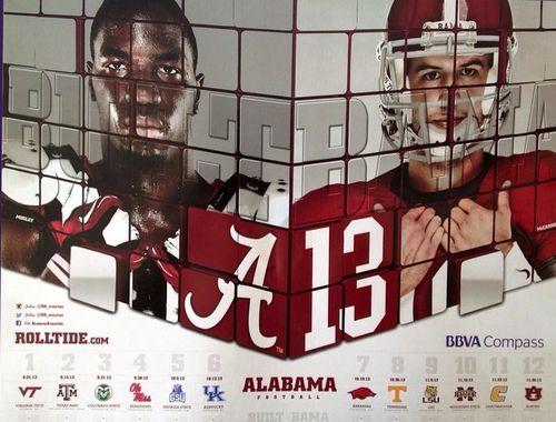 Alabama Crimson Tide 2013 poster schedule
