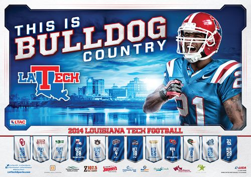 Louisiana Tech Bulldogs schedule poster 2014