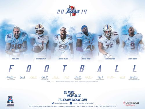 Tulsa Golden Hurricane 2014 poster schedule