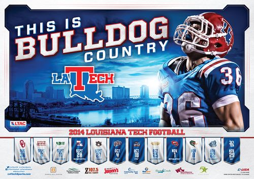Louisiana Tech Bulldogs 2014 schedule poster