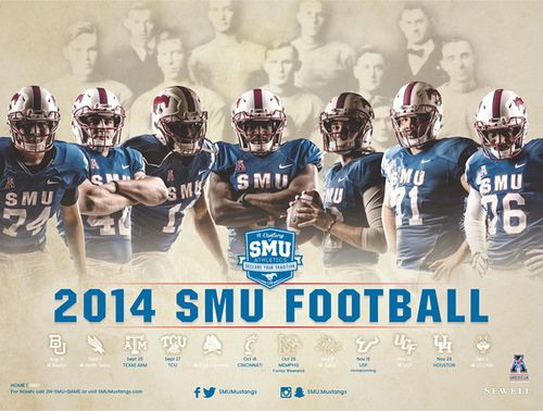 Southern Methodist Mustangs 2014 schedule poster
