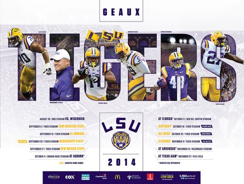 LSU Louisiana State Tigers 2014 poster schedule