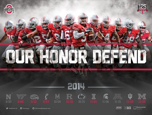 Ohio State Buckeyes Schedule Poster 2014