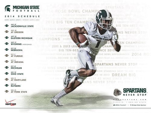 Michigan State Spartans 2014 schedule poster