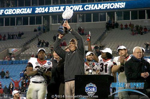 Mark Richt Belk Bowl trophy Georgia Bulldogs