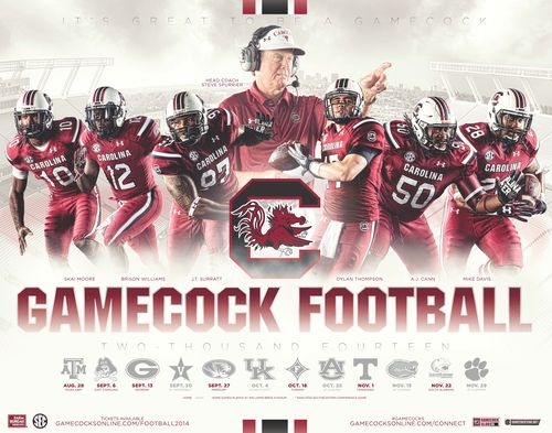 South Carolina Gamecocks 2014 poster schedule
